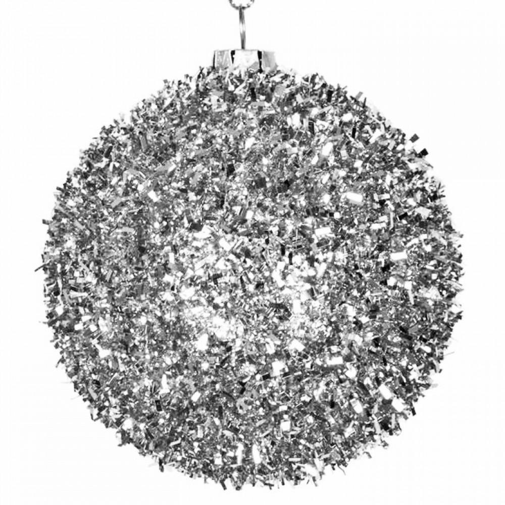 8 cm julekugle, grovglitter, sølv-31