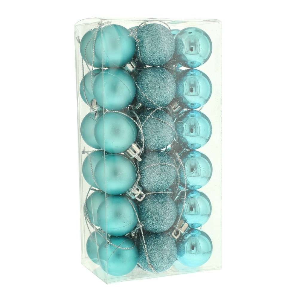 3 cm kugler, isblå, 36 stk i boks-31
