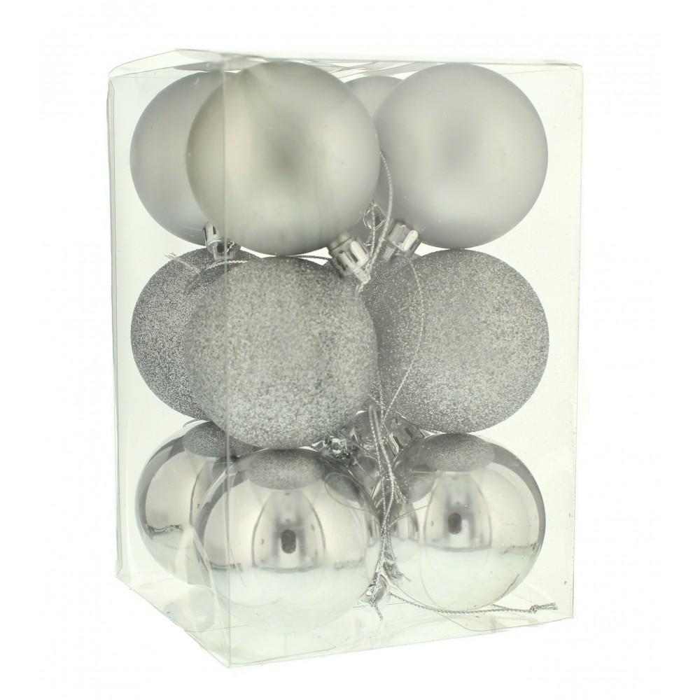 6 cm kugler, sølv, 12 stk i boks-31
