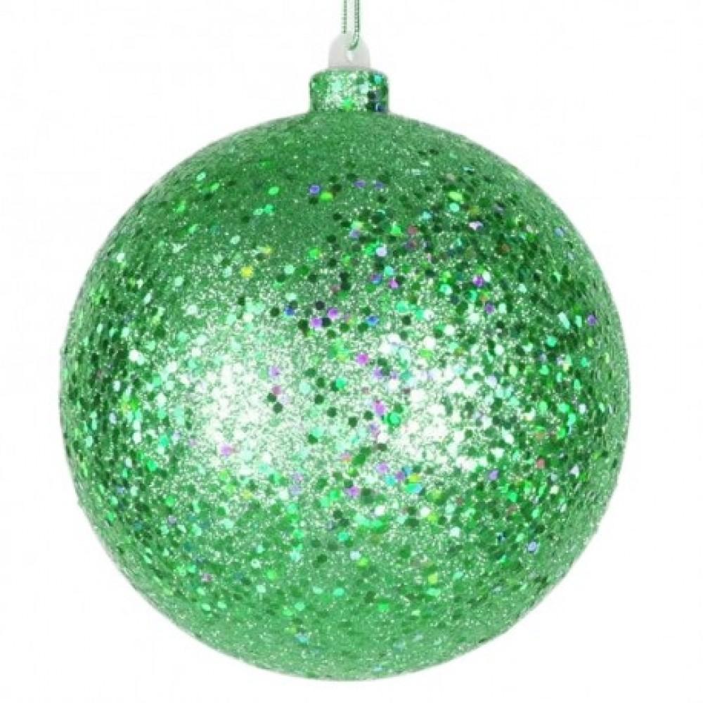 14 cm julekugle, laserglitter, grøn-31