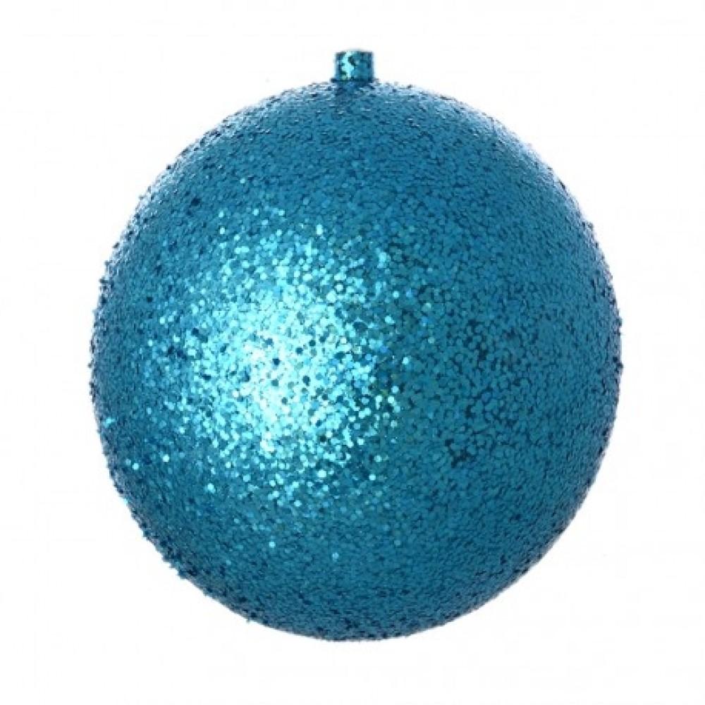 25 cm julekugle, laserglitter, turkis-31