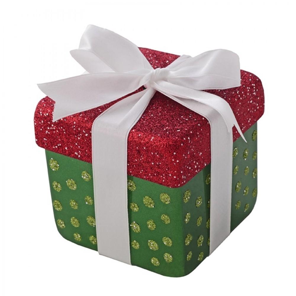 10x10 cm pakke, grøn perlemor m/rødt og lime glitter-31