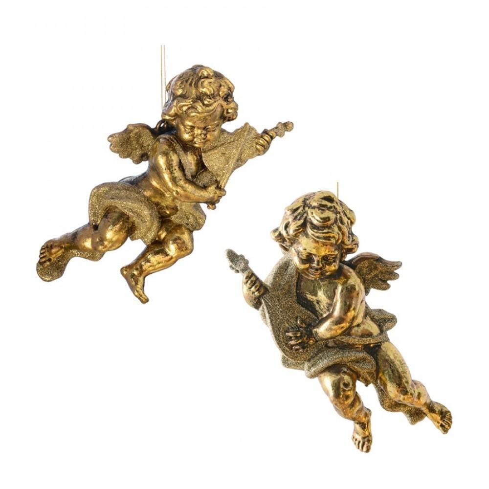 15 cm engle, antik guld, sæt a 2 stk.-33