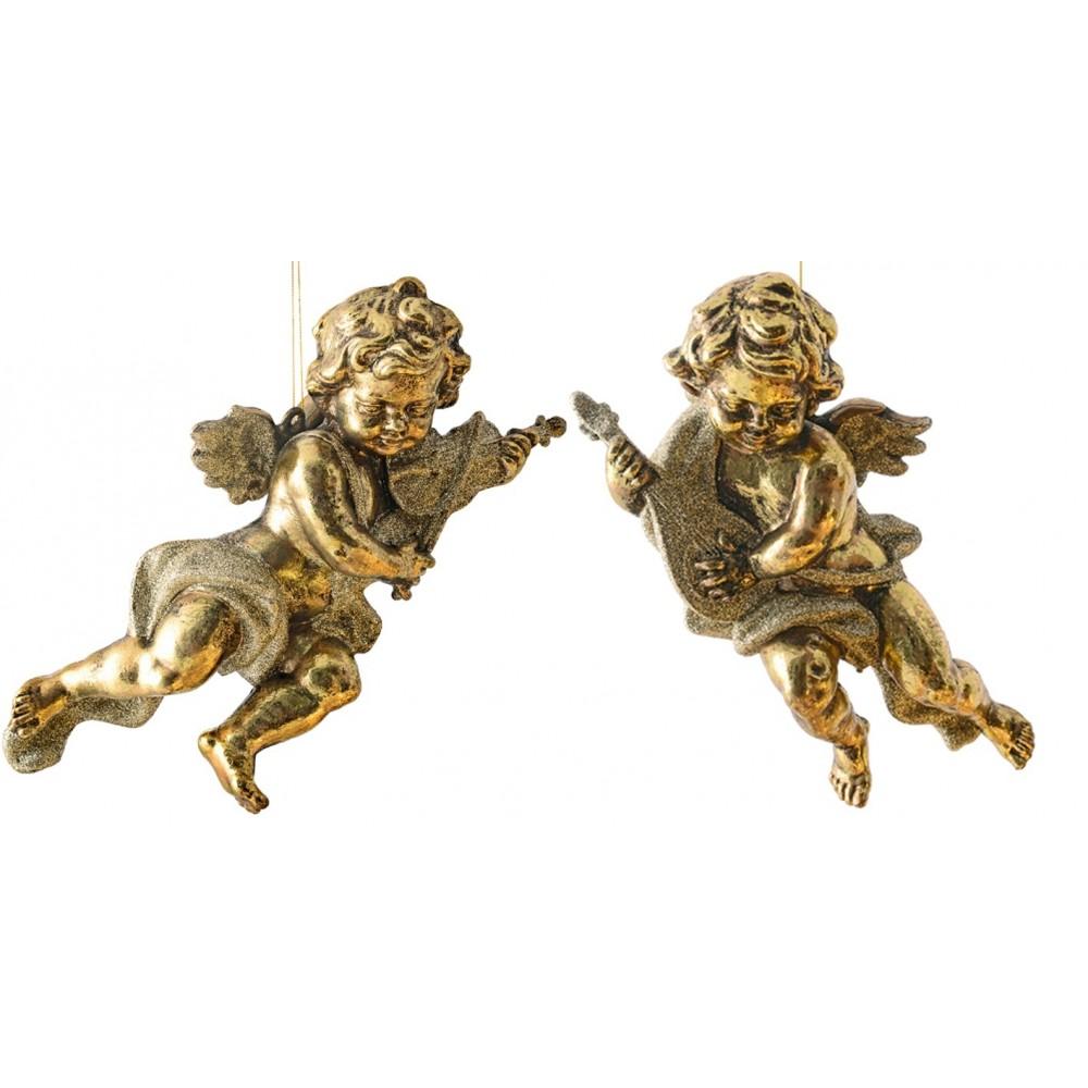 28 cm engle, antik guld, sæt a 2 stk.-31