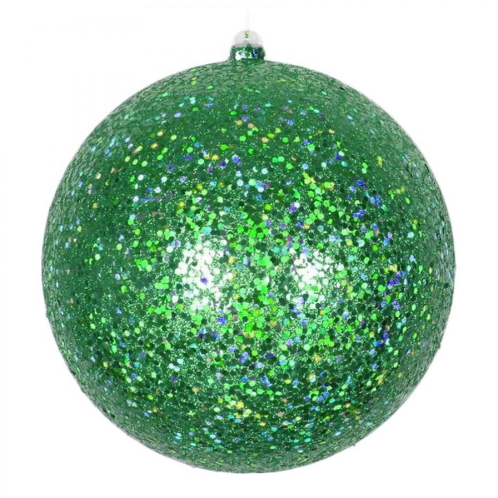 20 cm julekugle, laserglitter, grøn-31