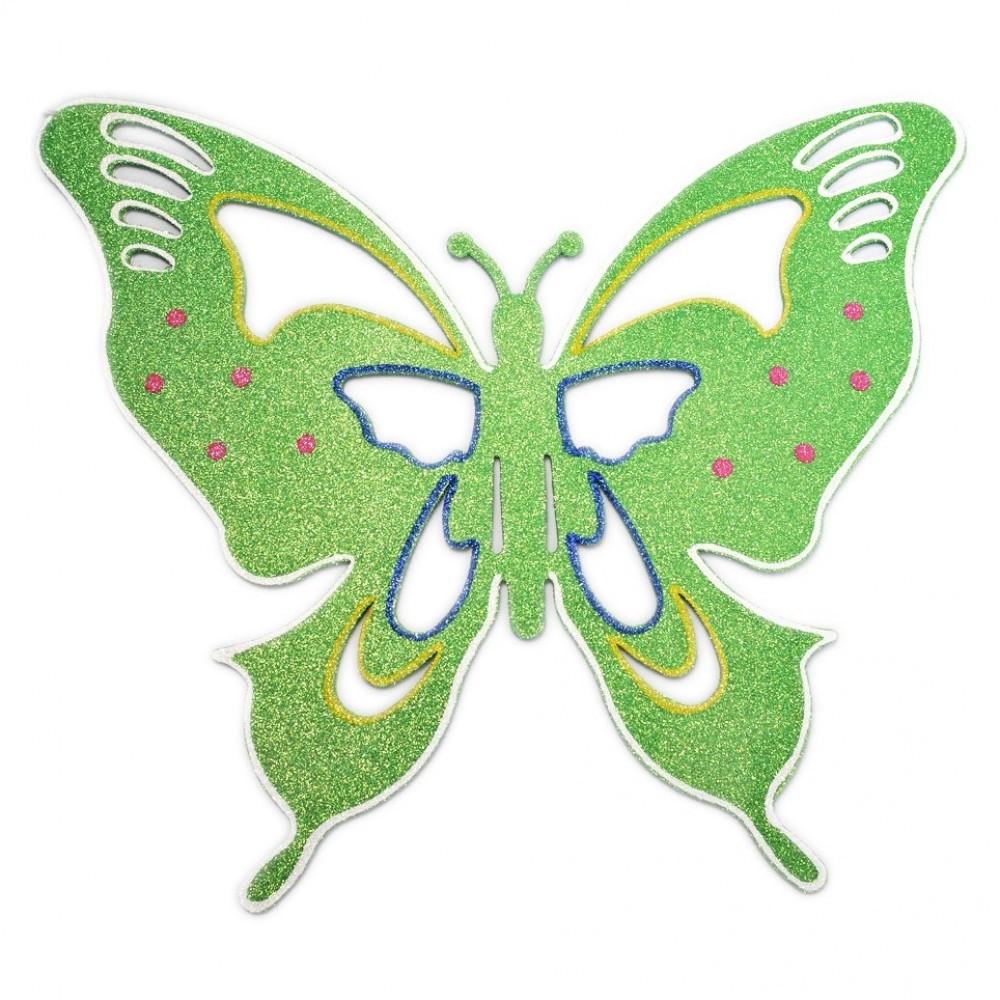 33x40 cm sommerfugle, grøn multi-31
