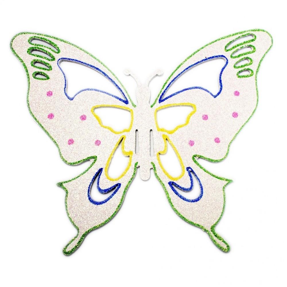 33x40 cm sommerfugle, hvid multi-31