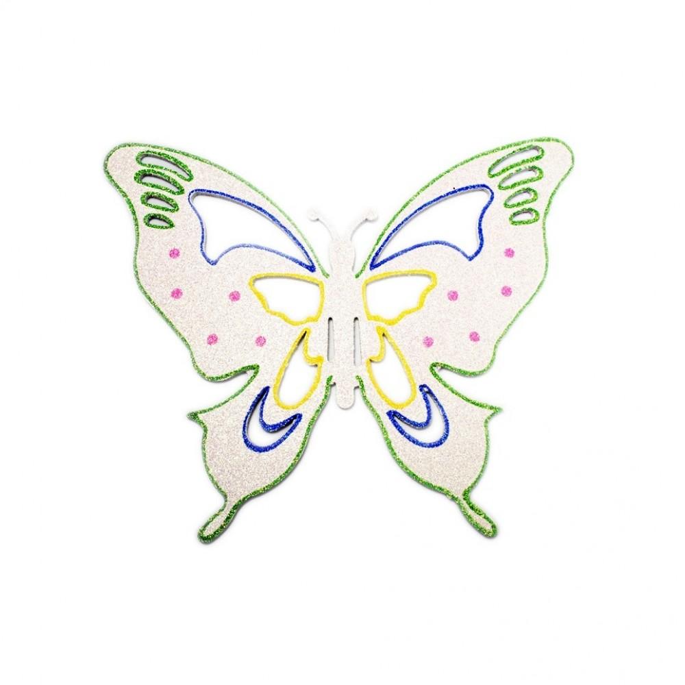25x30 cm sommerfugle, hvid multi-31