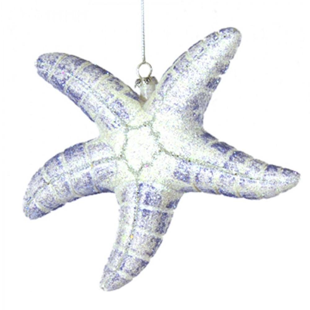 16,5 cm søstjerne, hvid og havblå glitter-31