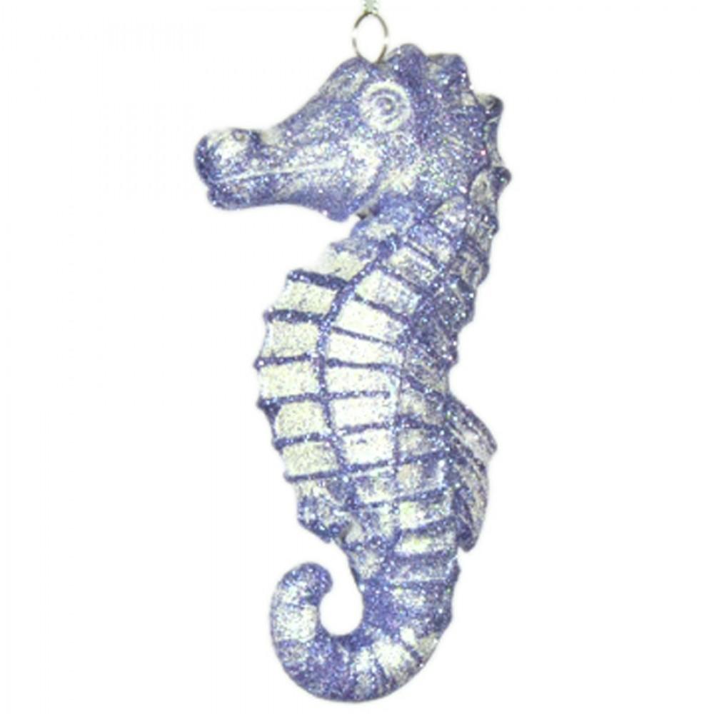 16,5 cm søhest, hvid og havblå glitter-31