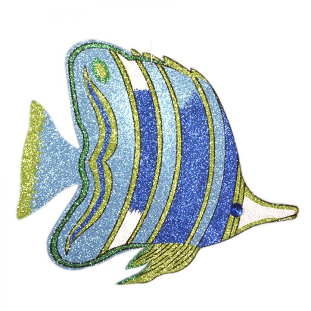 49 cm tropisk fisk Lyseblå m/ blå, lime og sølv-31