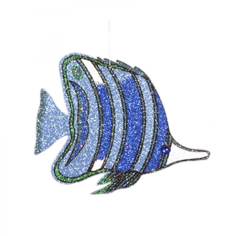 34 cm tropisk fisk, gentle blue m/blå og grøn glitter + simili-31