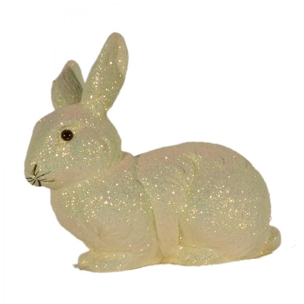 Påskehare, liggende, æggeskal glitter, medium-02