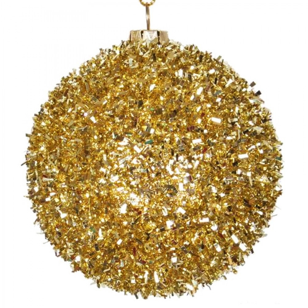 8 cm julekugle, grovglitter, guld-32
