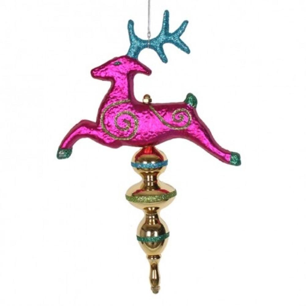 35 cm rensdyr-finial, multi colour med glitter-31