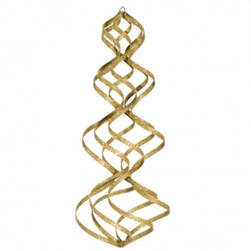 38 cm spiral, glitter, guld-31