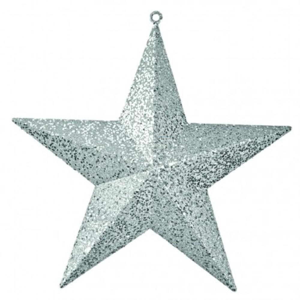 40 cm stjerne, glitter, sølv-31