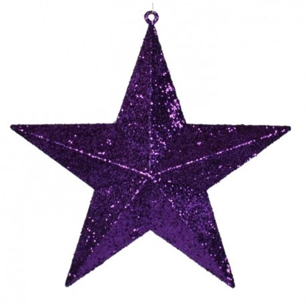 40 cm stjerne, glitter, lilla-31