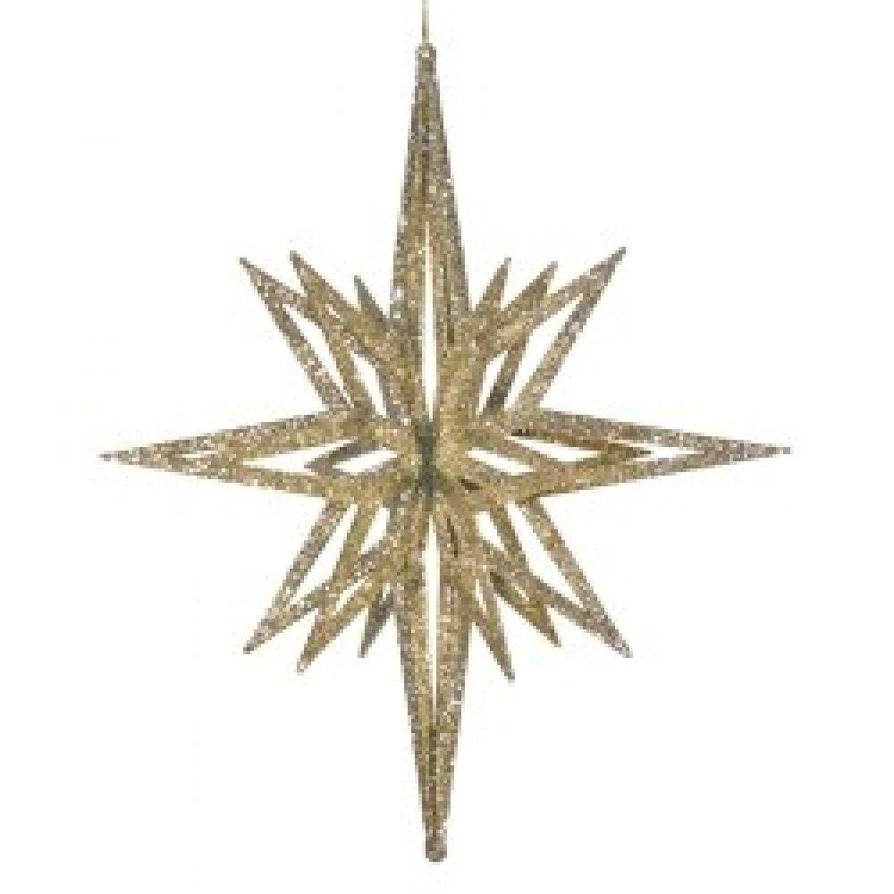 91 cm stjerne, glitter champagne, 3D-31