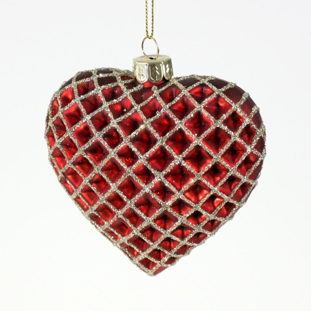 Julehjerte, glasornament, rød med guld glitter, 9 cm-31