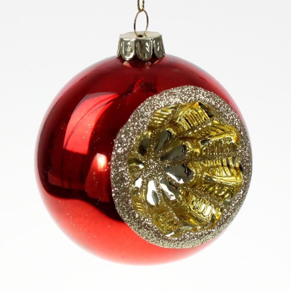 Julekugle med reflektor, i kraftigt glas, blank rød med guld glitter, 8 cm-31