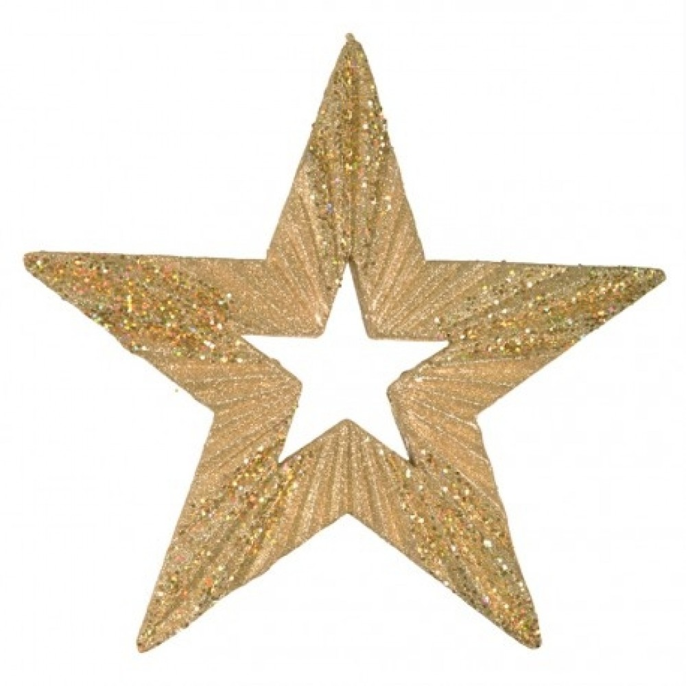 43 cm stjerne, glitter, guld-31