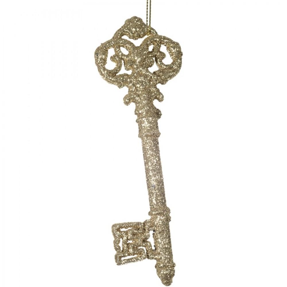 15 cm nøgle, glitter, champagne-31