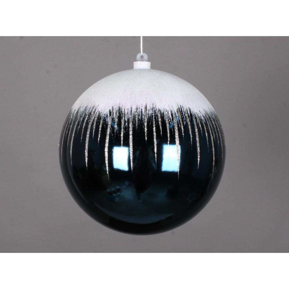 20 cm julekugle, blank, dark blue m/sne-01