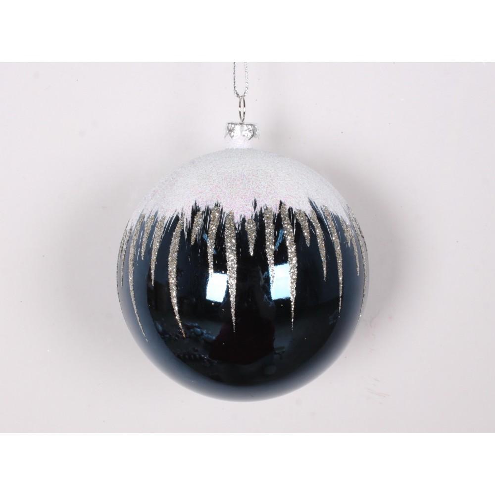 8 cm kugle, blank, dark blue m/sne, hvid og champagne glitter-01