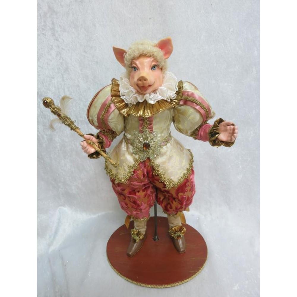 Mr. Pig dukke, 50 cm med stand-01