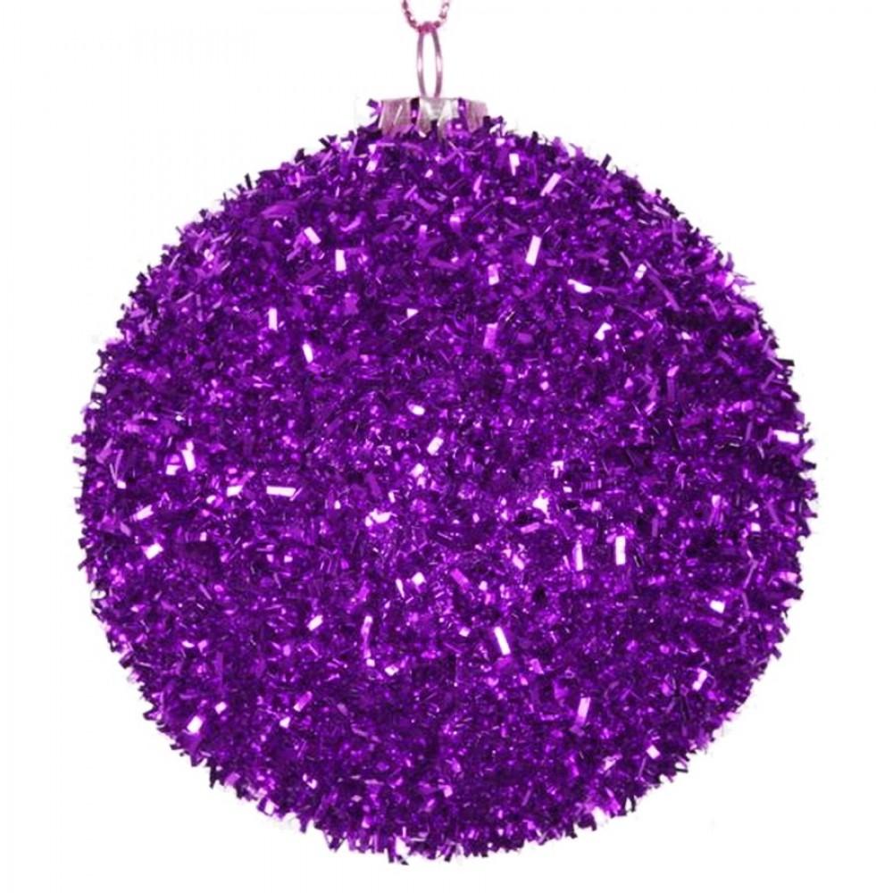 8 cm julekugle, grovglitter, lilla-31