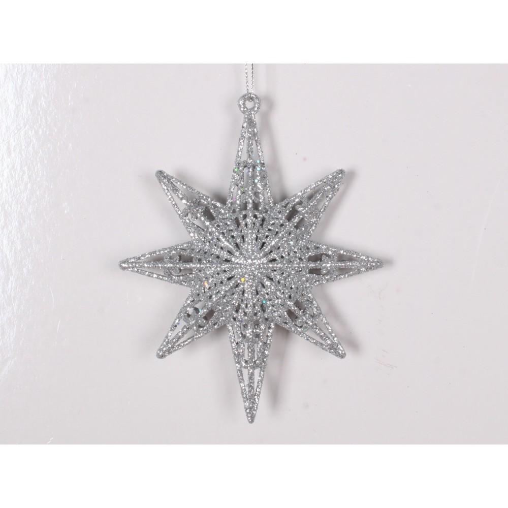 12,5 cm 8-punkt-stjerne, glitter, sølv-31