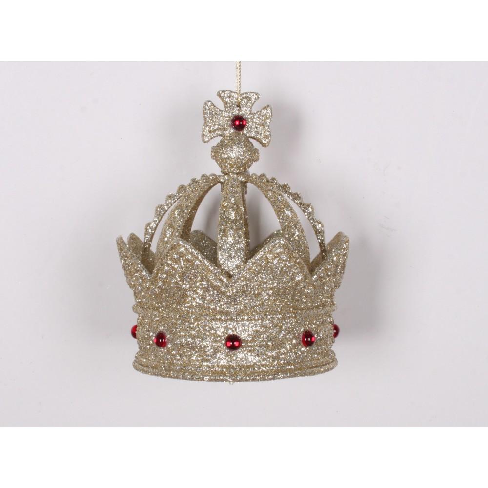 11,5 cm kongekrone, glitter, champagne m/røde perler-01