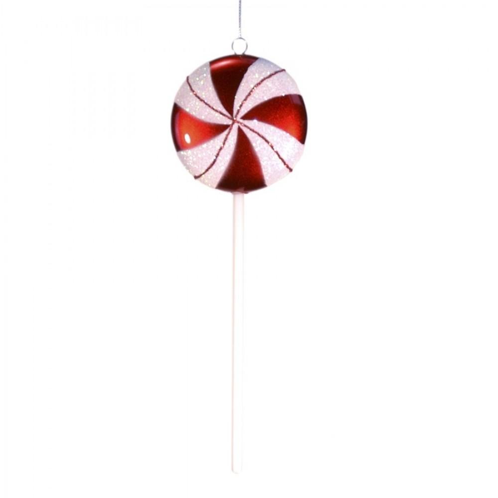 25 cm slikkepind, perlemor rød med hvidt glitter-31