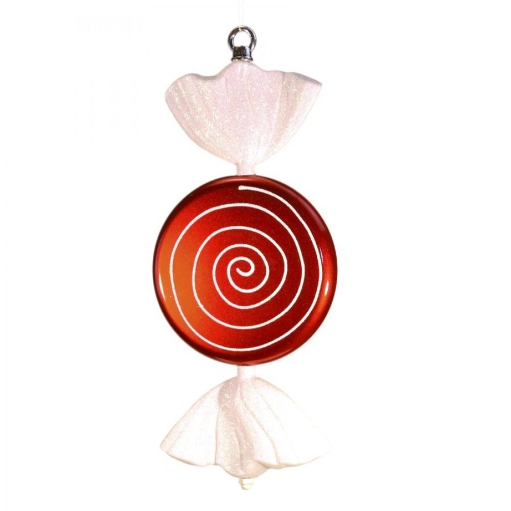 33 cm slik, flad rund, perlemor rød med hvidt glitter, hvide haler-31