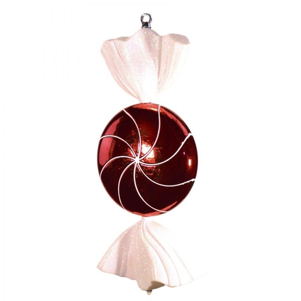 46 cm slik, flad rund, blank rød med hvidt glitter-31