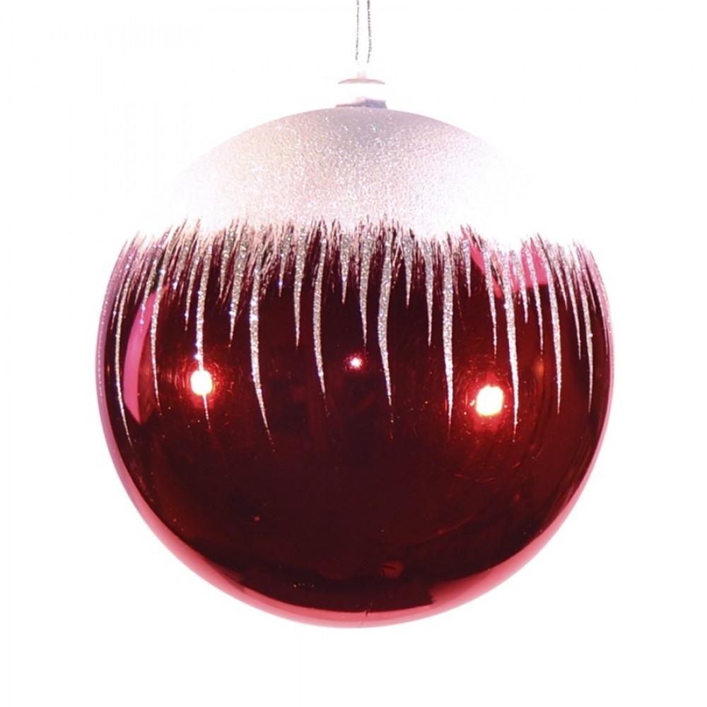 20 cm julekugle, blank, rød m/sne-31