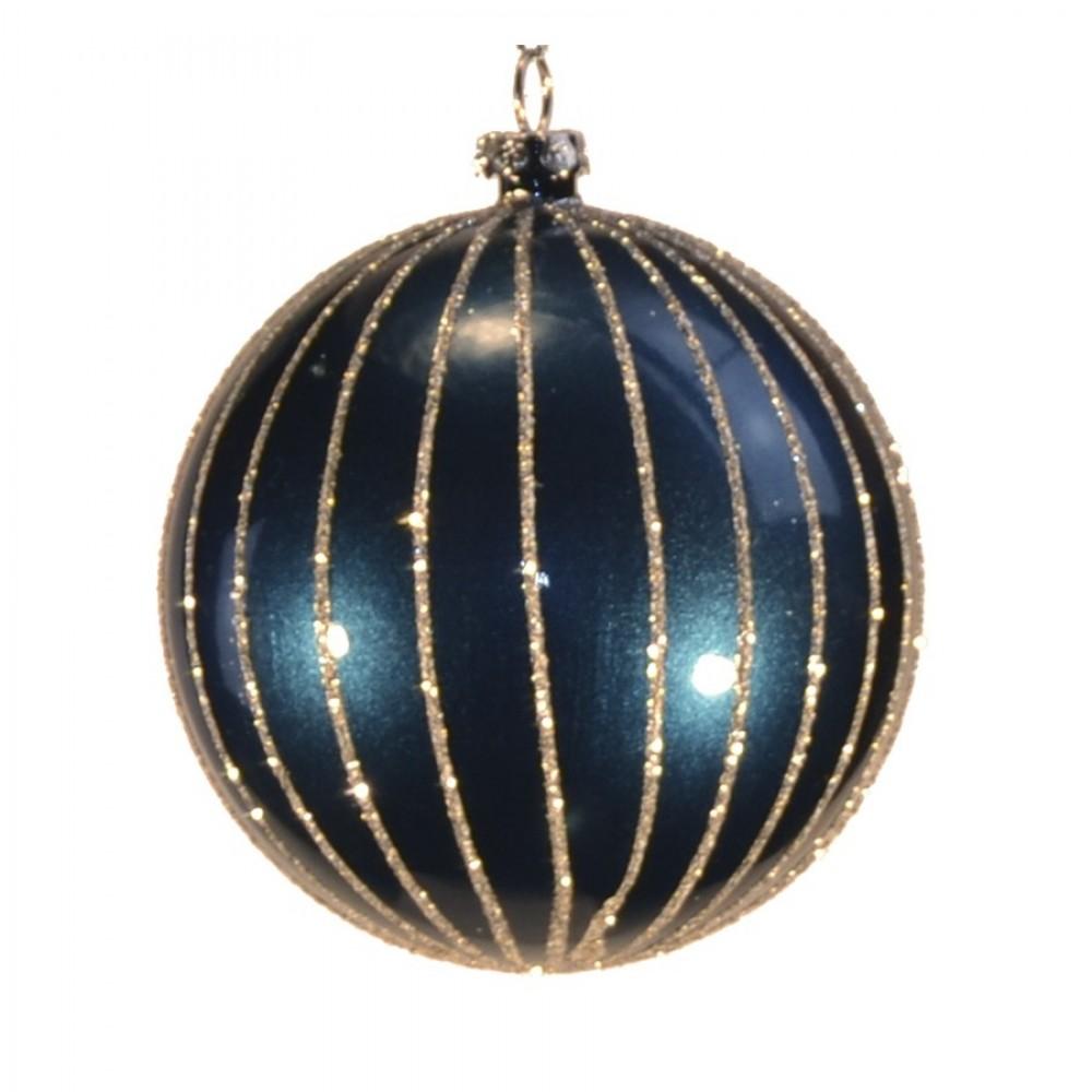 8 cm julekugle, perlemor dark blue m/lodrette striber af champagne glitter-31