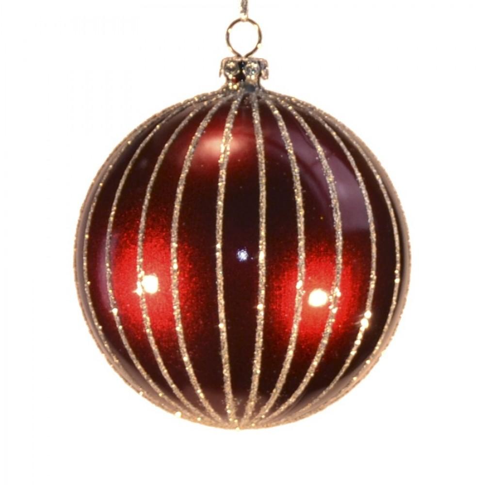 8 cm julekugle, perlemor burgundy m/lodrette striber af champagne glitter-31