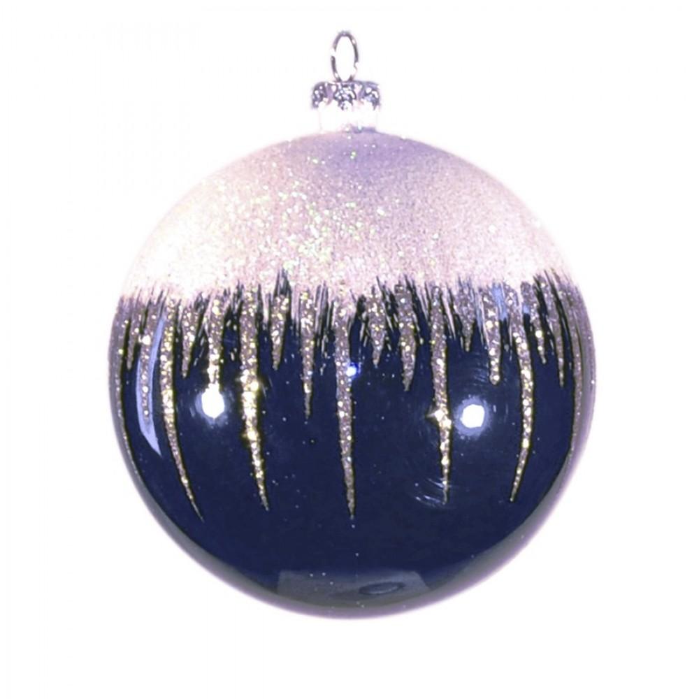 8 cm kugle, blank, dark blue m/sne, hvid og champagne glitter-31