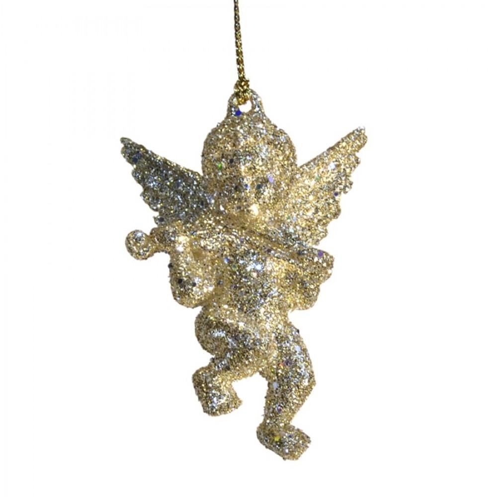 6,5 cm engel m/violin, diamant guld laserglitter-31