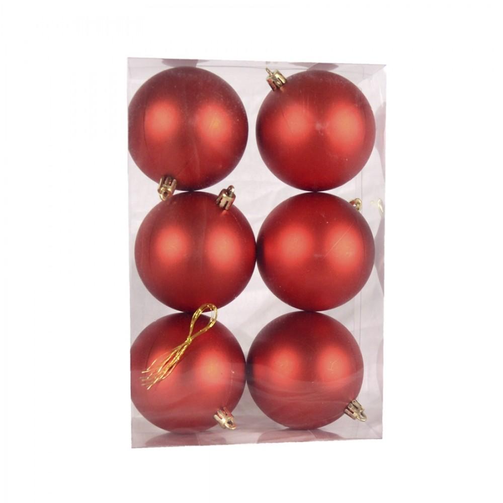 8 cm julekugle, 6 stk i boks, mat rød-32