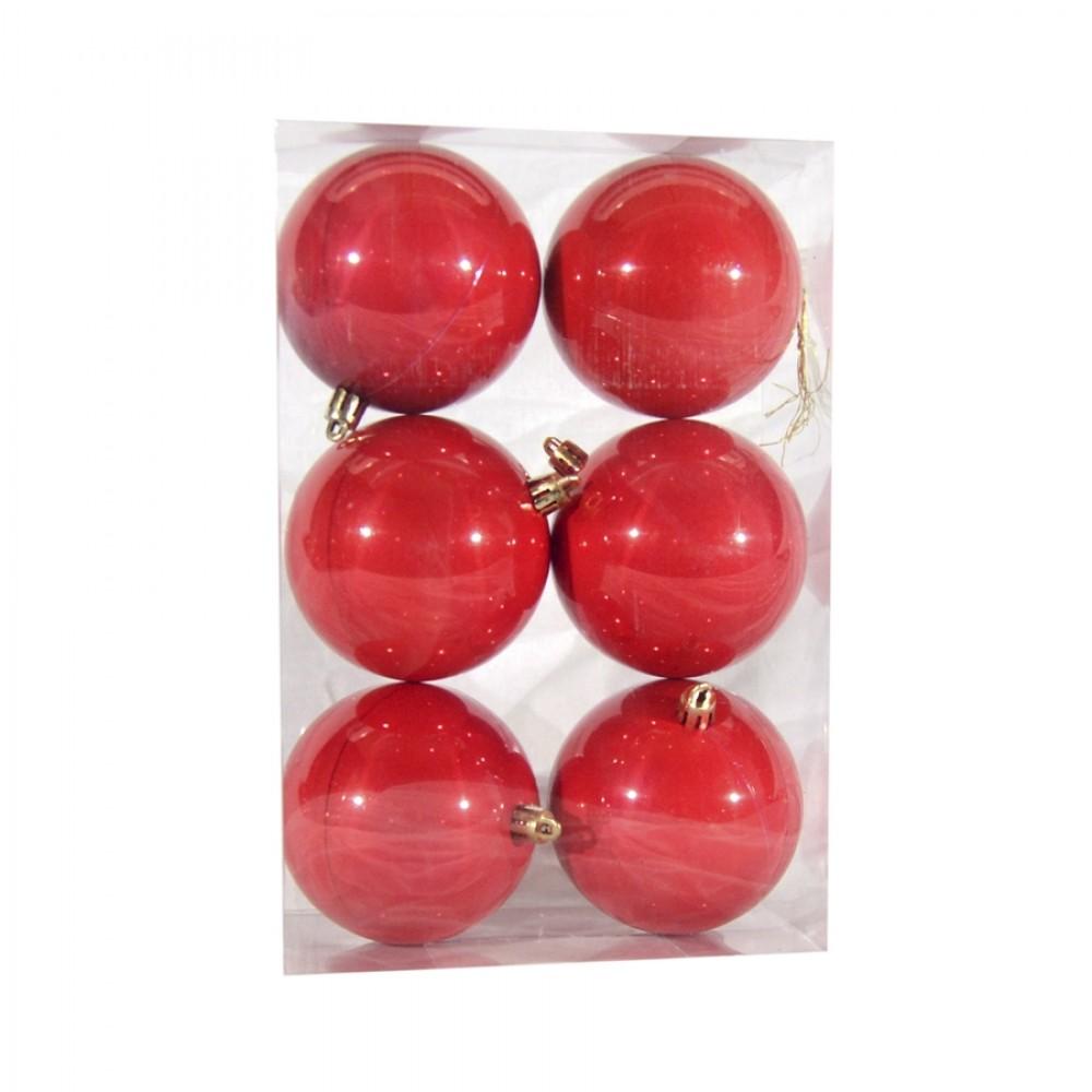8 cm julekugle, 6 stk i boks, perlemor rød-32