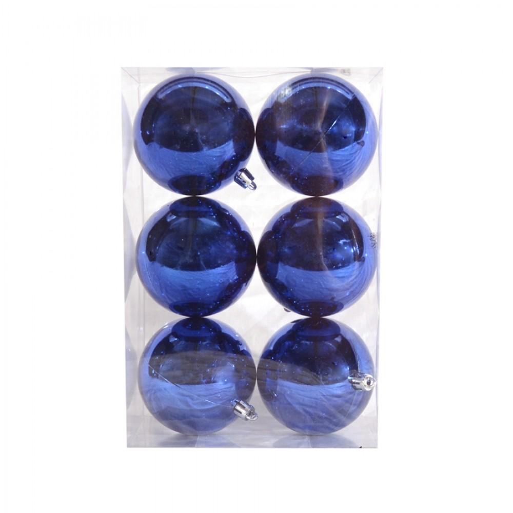 8 cm julekugle, 6 stk i boks, blank blå-32