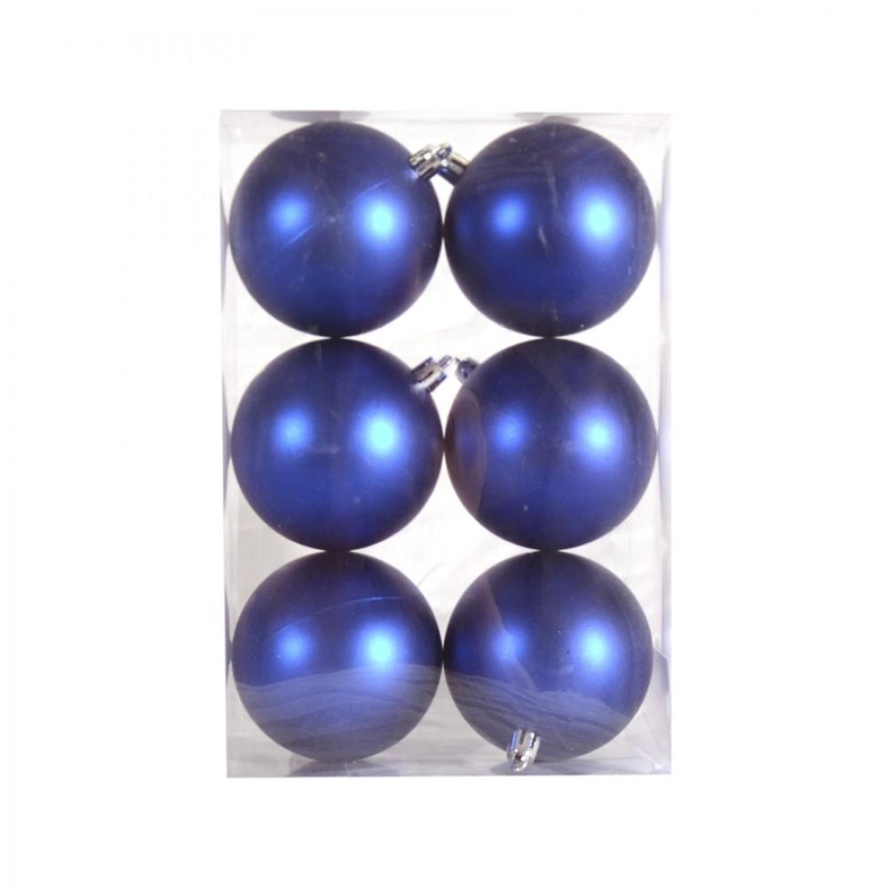 8 cm julekugle, 6 stk i boks, mat blå-32