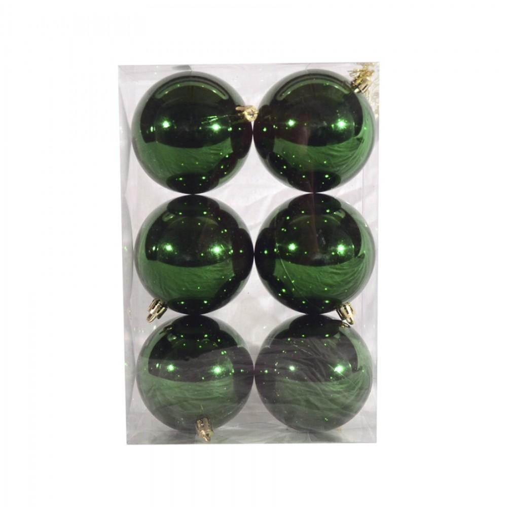 8 cm julekugle, 6 stk i boks, blank grøn-32