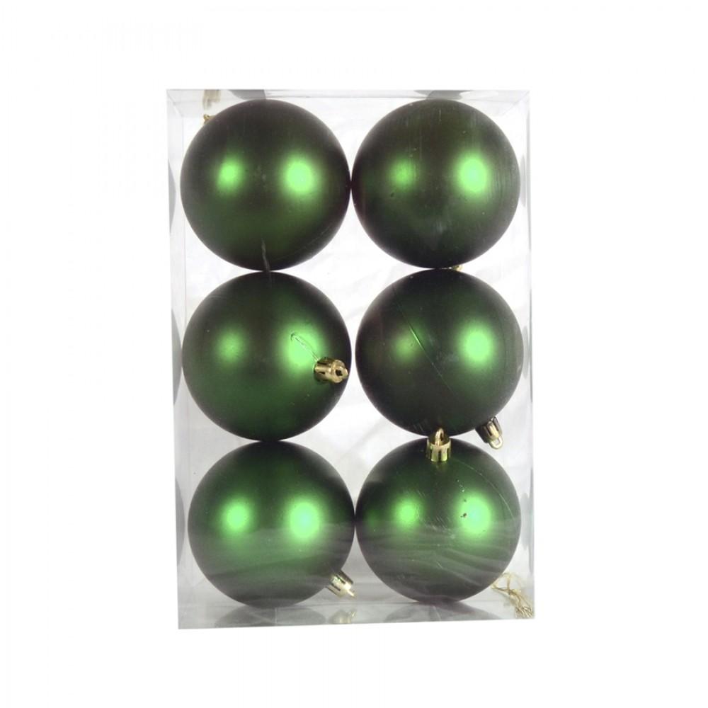 8 cm julekugle, 6 stk i boks, mat grøn-32