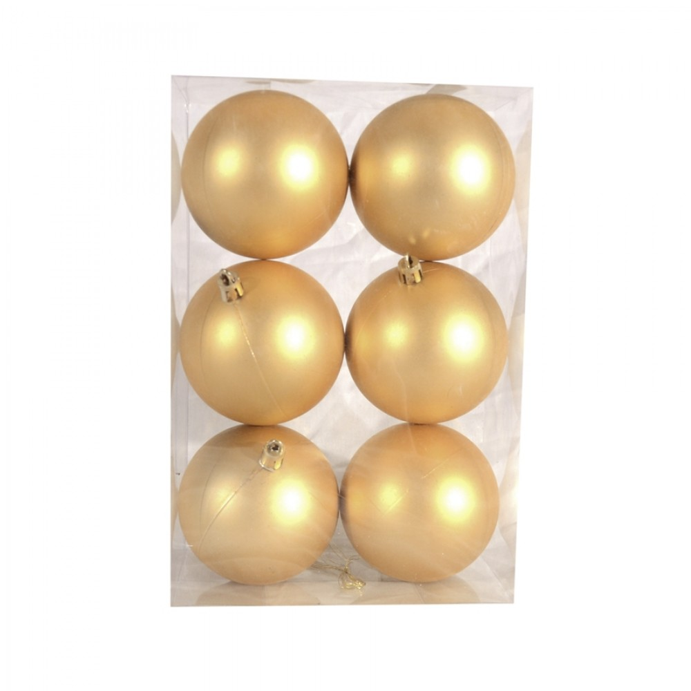8 cm julekugle, 6 stk i boks, mat guld-33