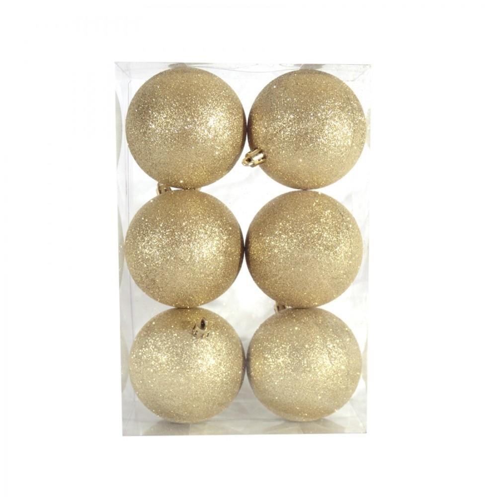 8 cm julekugle, 6 stk i boks, glitter guld-32
