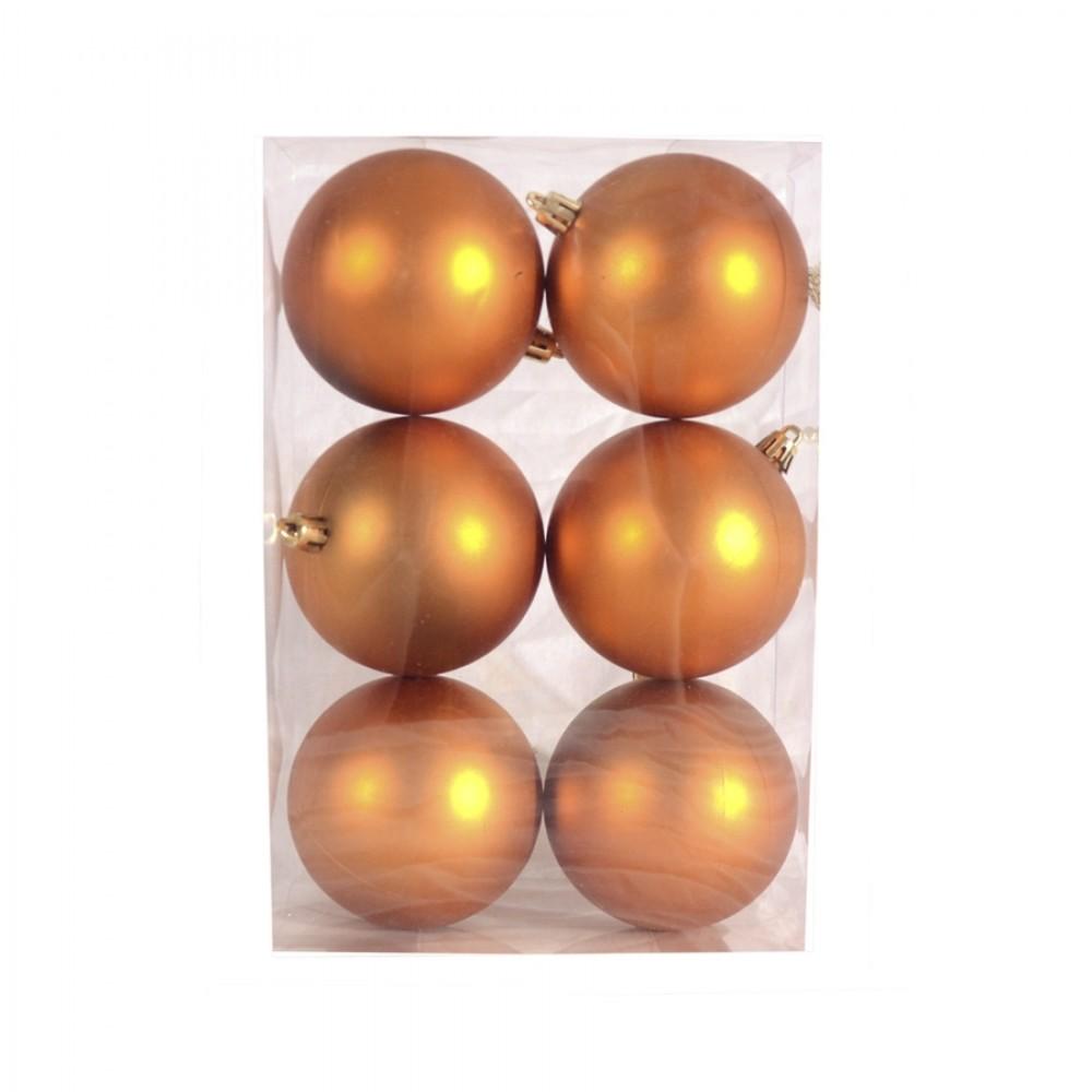8 cm julekugle, 6 stk i boks, mat orange-32
